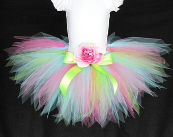 "Birthday Tutu, Pink Green Blue Tutu, Girls Tutu, Baby Tutu, Funshine, 11"" pixie tutu, Photo Prop Tutu, Girls Birthday Tutu, Flower Girl Tutu"