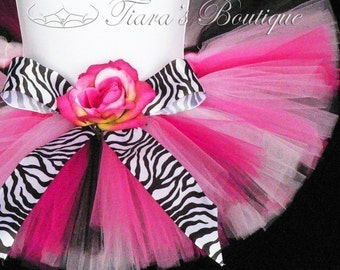 "Birthday Tutu Set - Zebra Tutu and Flower Headband Set - 6"" Sewn Girls Tutu Skirt - Posh Punk - Photo Prop for Baby Toddlers"