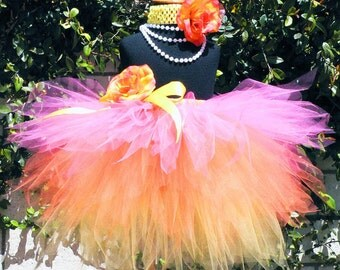 Sewn Tutu - Pink Orange Yellow Layered Tutu - Custom 3 Tiered Pixie Tutu - SUMMER SUNSETS - sizes newborn up to 5T