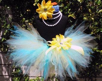 "Baby Tutu - Girls Tutu - Blue Yellow Birthday Tutu - Ray of Sunshine - Infant Toddler Pixie Tutu - Sewn 8"" Tutu - sizes Newborn to 12 months"