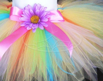 Yellow Rainbow Tutu - Liliana, a flower pixie - Custom SEWN 11'' Pixie Tutu and Flower Headband Set - Perfect for Easter Portraits