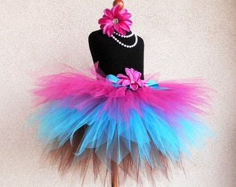 Birthday Tutu - Hot Pink Blue Brown Tutu - Trendylicious - Sewn 3 Tiered Pixie Tutu - Tiara's Boutique Original - Girls Tutu - Cupcake Tutu