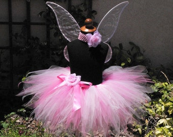 Pink Tink - Includes custom handmade Pixie Wings and SEWN 12'' pixie tutu - Made-To-Order - Available in sizes Newborn up to 5T