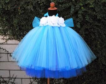 "Flower Girl Tutu Dress - Blue Layered Custom Tutu Dress - ENCHANTED - 2 Tiered SEWN Tutu Dress - up to 20"" long - sizes NB to 24 months"