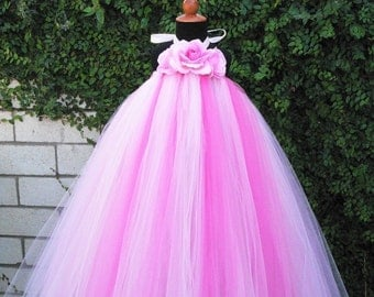 Flower Girl Tutu Dress - Pink Tutu Dress - Pink Powder Puff - Custom Sewn Tutu Dress - Birthday Tutu Dress for Girls