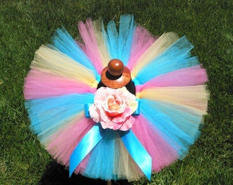 "Baby Tutu - Birthday Tutu - Blue Yellow Pink - Sewn 8"" Tutu - Lollipops & Gumdrops - Infant Toddler Tutu - sizes Newborn to 24 months"