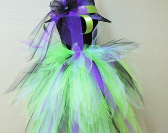 Tutu Bustle Witch Costume for Halloween - Rockin' Witch - Custom Sewn 3 Tiered Pixie Tutu Bustle & Witch Hat - Up to 25 inches in length