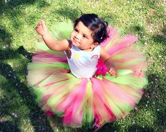 "Tutu, Girls Tutu, Birthday Tutu, Cake Smash Tutu, lime green tutu, pink tutu, Photo Prop Tutu Set, LIME PASSION, tutu up to 5T and 12"" long"