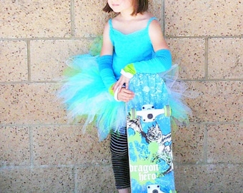 Blue Green White Custom Tutu - SEAGLASS - Includes an 11'' Sewn Pixie Tutu - Girls sizes 9 to 12