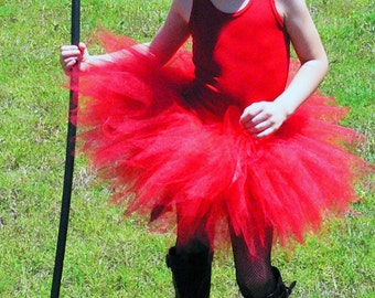 """Little Devil Dearest - Tutu Costume - Includes a sewn 11"""" red pixie tutu, red devil horns headband and tail - Girls sizes 6 to 8"""