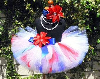 red white blue tutu and headband set - AMERICAN DARLING - custom sewn 10'' tutu and headband - sizes Newborn to 5T - Perfect for 4th of July