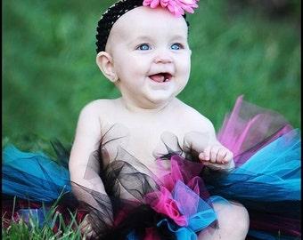 """Sewn Tutu - black pink blue tutu, headband set - I LOVE ROCK N' Roll - 8"""" Custom Tutu - sizes Newborn to 5T"""