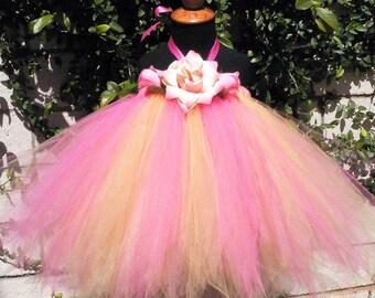 Pink Yellow Pixie Tutu Dress - RANI - Custom SEWN Sweet Baby Pixie Tutu Dress - up to 20 inches long - sizes NB to 24 mo