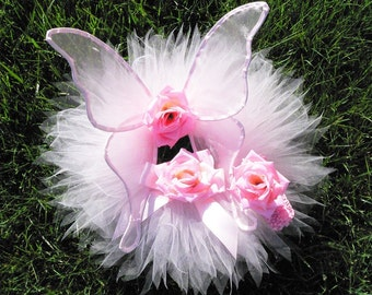 Handmade Infant's Fairy Wing and Tutu Set with Matching Headband, you pick colors, Perfect for Portraits, 1st Birthdays, Baby Shower Gifts
