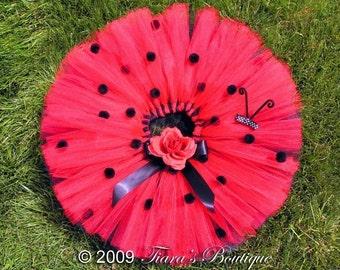"Ladybug Tutu - Sewn Red Black Layered Tutu - Up to 12"" Length - Perfect for Halloween, Spring Portraits, Recitals, Ladybug Birthdays"