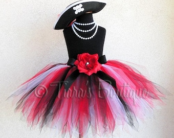 Red Black White Pirate Pixie Tutu and Hat Costume Set - Custom Sewn 15'' Pixie Tutu w/ Pirate Hat - Skull and Crossbones - sizes up to 5T