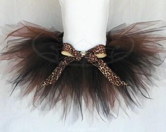 """Cheetah Tutu - Brown Black Tutu - Cleo, a rainforest pixie - 11"""" pixie tutu - Custom Sewn Tutu - Sizes Newborn up to 5T"""