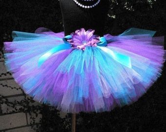 "Blue and Purple Tutu - Girls Tutu - Wildflower - Custom Sewn 12"" Tutu for Girls - newborn up to 5T"