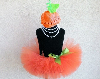 Baby Tutu Set - Pumpkin Costume - READY TO SHIP - Orange Infant Tutu and Beanie Set - Sewn 6'' Infant or Toddler Tutu and Beanie Hat