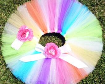 "Candyland Dreams - Rainbow Lollipop Tutu - Custom Sewn Tutu - up to 12"" long - sizes newborn up to 5T - Tutu Only"