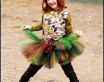 "Mossy Oak Camo Tutu - Custom Sewn 12"" Tutu  - Tiara's Boutique Original - sizes up to 5T - For 1st Birthdays, Halloween and Military Events"