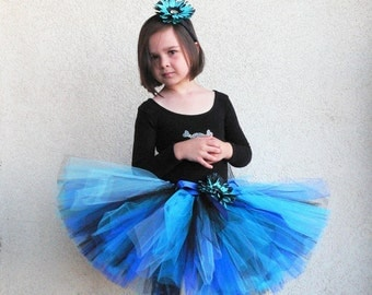 Blue Swallowtail - Custom SEWN tutu - length up to 12'' long - size Newborn to 5T - Includes a matching flower headband