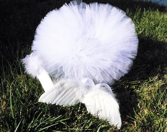 Angel Baby Photo Prop Set, IMPERFECT Newborn Angel Tutu Wings Headband Costume Set includes feather angel wings, tutu, and marabou headband