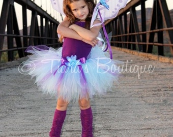 Purple Blue Tutu - Blue Fairy - Custom Sewn 11'' Pixie Tutu - Halloween Tutu - TUTU ONLY - Girls sizes 9 to 12