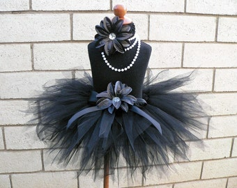 Black Tutu - Midnight Pixie Tutu - Custom Sewn Tutu - 11'' Pixie Tutu - Newborn up to 5T
