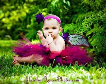 Custom Fairy Costume, Flower Girl Tutu Set, Design Your Own Garden Pixie Set, 3 piece set, 11'' Pixie Tutu, Handmade Fairy Wings & Headband