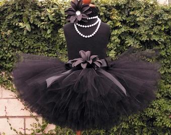 Girls Birthday Tutu Skirt - Black Custom Tutu - TWILIGHT - 10'' Sewn Black Tutu - sizes Newborn up to 5T