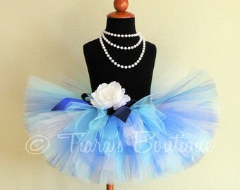 "Girls Tutu, Icy Blue, Custom Sewn 8"" Blue Tutu, sizes Newborn to 5T"