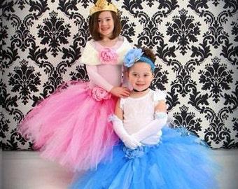 "Design Your Own Long Princess Tutu - Custom Sewn Tutu - Up to 20"" long- up to size 5T - Design your own Cinderella, Aurora, Belle, or more"