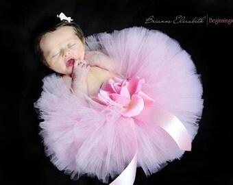 "Baby Tutu - Pink Tutu - 6"" Sewn Infant Tutu - sizes newborn up to 12 months - Ready To Ship - Tutu for girls, birthdays, photo props"