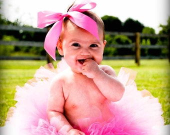 Pink Baby Tutu - Hot Pink Tutu - Sewn Infant Tutu - Ready To Ship - sizes newborn up to 12 months - Photo Prop