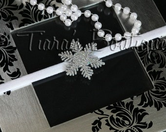 Snow Angel Snowflake Headband - White Headband with Silver Snowflake - made to match the Tiara's Boutique Snow Angel tutu