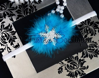 Winter Wonderland - Turquoise Blue Marabou Embellished Silver Snowflake Headband - Made to match the Tiara's Boutique Snowflake tutu