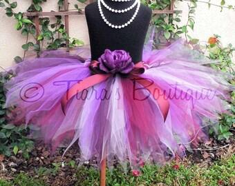 Girls Tutu Skirt - Birthday Tutu - Pink Burgundy Purple Tutu - Wild Berry - Sewn Tutu - 11'' pixie tutu - up to 5T - Photo Prop