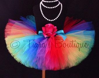 Rainbow Tutu, Imagine, A Magical Rainbow Birthday Tutu, Sewn Tutu, 9 Vibrant Colors, Newborn Photo Prop, Tulle Skirt for Babies Girls Tweens