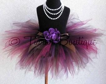 Sewn Tutu - Brown Burgundy Purple Tutu - Chocolate Raspberry - Custom Sewn Tutu - 11'' pixie tutu - sizes newborn to 5T