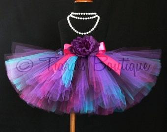Girls Tutu Skirt - Birthday Tutu - purple blue pink tutu - Mulberry Tutu - Custom Sewn Tutu - length up to 12'' - sizes Newborn to 5T