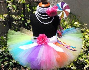 "Candyland Dreams - Rainbow Lollipop Tutu - Custom Sewn Tutu - up to 8"" long - sizes newborn up to 5T - Tutu Only"
