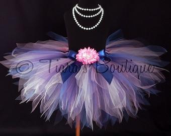 Girls Tutu - Birthday Tutu - Blue Pink Tutu - Marina - Custom 12'' Sewn Pixie Tutu - sizes Newborn up to 5T