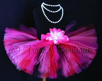 "Heartbreaker - Custom Sewn 8"" Tutu - red black pinks custom tutu - size Newborn to 5T - Perfect for Valentine's Day"