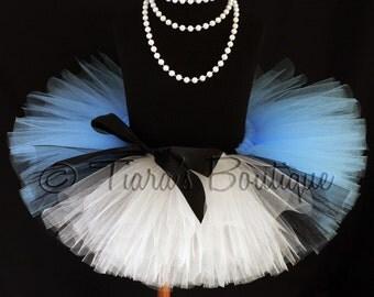 "Girls Tutu Skirt - Birthday Tutu - Blue Black White Tutu w/ Apron Look - Ready To Ship - Sewn 8"" Tutu - Alice in Wonderland - Photo Prop"
