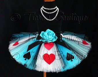 "Tutu - Alice of Hearts - A Tiara's Boutique Original Design - Custom Sewn Tutu - Up to 12"" Long - girls size 9 to 12"