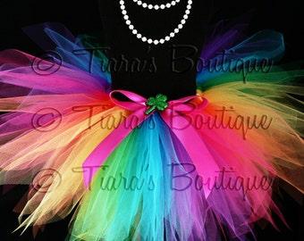 St Patricks Day Tutu - Girls Tutu Skirt - Birthday Tutu - Magic of the Rainbow Tutu - Custom 12'' Sewn Pixie Tutu - sizes Newborn up to 5T