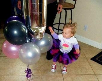 "Baby Tutu - Birthday Tutu - Rock Diva Tutu - 6"" SEWN Infant/Toddler Tutu - Fuchsia Purple and Black - sizes up to 24 months"