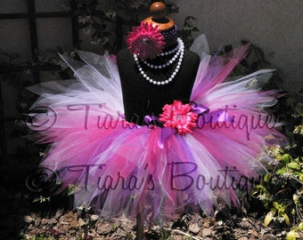 "Girls Birthday Tutu Skirt - Pink White Purple Tutu - Eolande, a garden pixie - 11"" pixie tutu - Custom SEWN Tutu - newborn up to 5T"