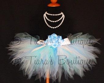 Blue and White Tutu, Girls Tutu, Winter Wonderland Tutu, Morning Mist, Custom Sewn Pixie Tutu for Girls, Babies, and Tweens